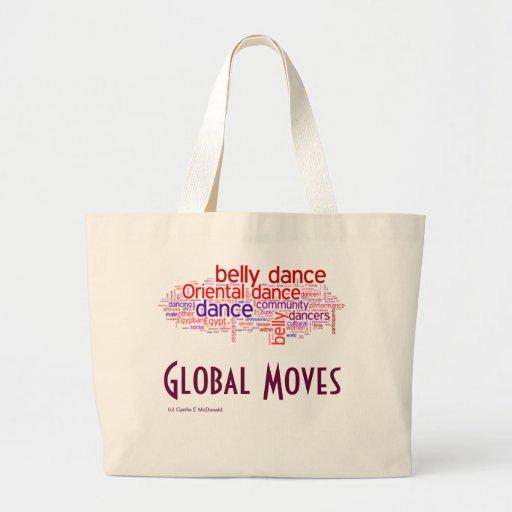 Nube global 3 de la palabra de los movimientos bolsas de mano