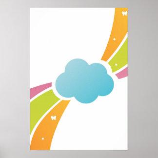 Nube ilustrada y arco iris en colores pastel póster