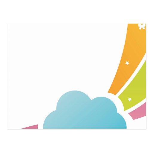 Nube ilustrada y arco iris en colores pastel tarjetas postales