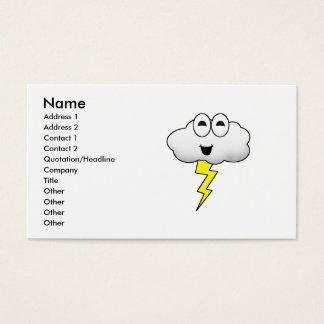 Nube linda del relámpago del dibujo animado tarjeta de negocios