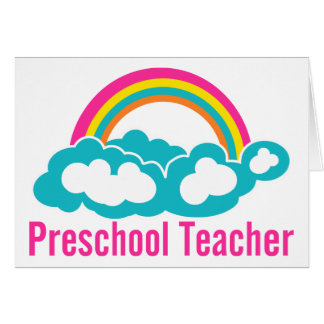 Nube preescolar del arco iris del profesor tarjetón