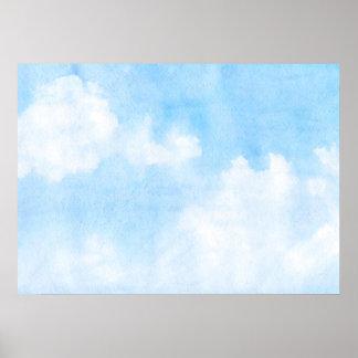 Nubes de la acuarela y fondo del cielo póster