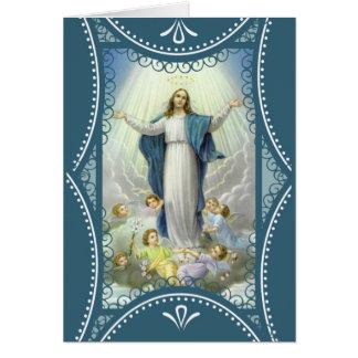 Nubes de los ángeles del Virgen María de la Tarjeta De Felicitación