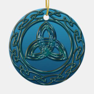 Nudo céltico de la trinidad de la mirada antigua adorno de cerámica