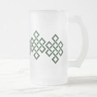 Nudo céltico del tejedor, taza verde del granito