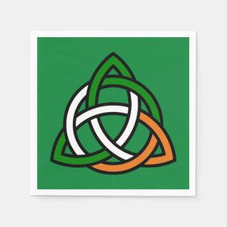 Nudo céltico en naranja verde y blanco servilletas desechables