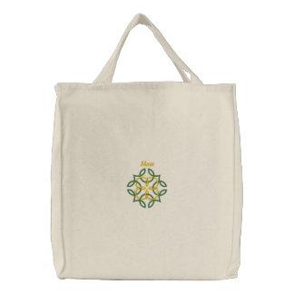 Nudo céltico - mamá - verde, oro - gran idea para bolsa de tela bordada
