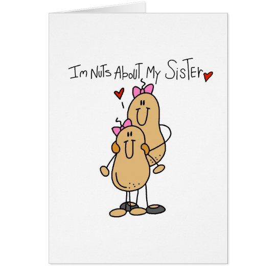 Nueces sobre mi hermana tarjeta de felicitación