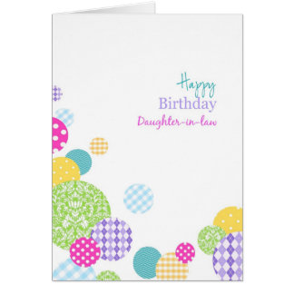 Nuera colorida del feliz cumpleaños de los puntos tarjeta de felicitación