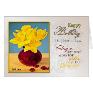 Nuera de oro de la tarjeta de cumpleaños de los