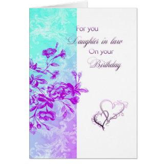 Nuera del cumpleaños (púrpura) tarjeta de felicitación