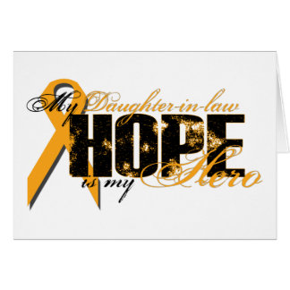 Nuera mi héroe - esperanza de la leucemia tarjeta de felicitación