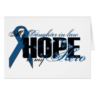 Nuera mi héroe - esperanza del cáncer de colon tarjeta de felicitación