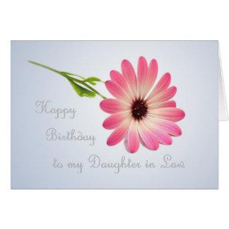 Nuera - tarjeta de cumpleaños rosada de la