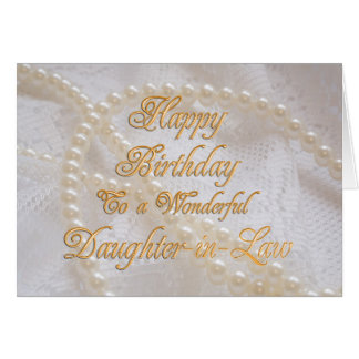 Nuera, una tarjeta de cumpleaños con las perlas tarjeta de felicitación