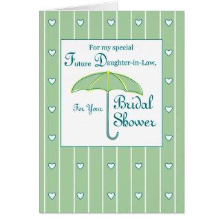 Nuera, verde, paraguas nupcial de la ducha tarjeta de felicitación