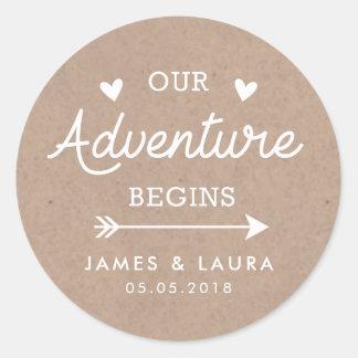 Nuestra aventura comienza al pegatina del boda de