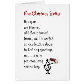 Nuestra letra del navidad - un poema divertido del felicitación
