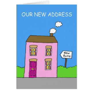 Nuestra nueva dirección, casa rosada tarjeta de felicitación