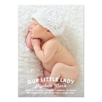 Nuestra pequeña señora Birth Announcement Invitación 12,7 X 17,8 Cm
