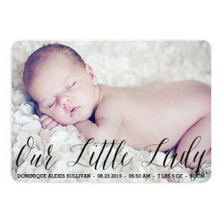 Nuestra pequeña señora Script Photo Birth Invitación 12,7 X 17,8 Cm