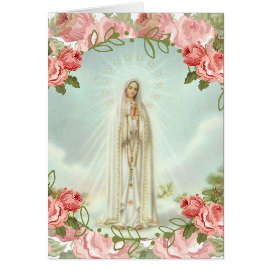 Nuestra señora de los rosas rosados de Fátima Tarjeta De Felicitación