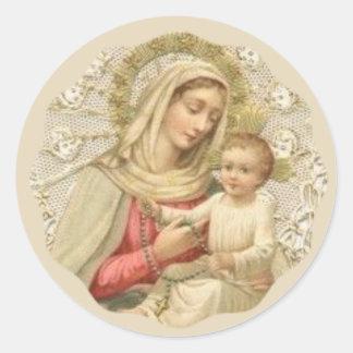 Nuestra señora del rosario con el bebé Jesús Pegatina Redonda
