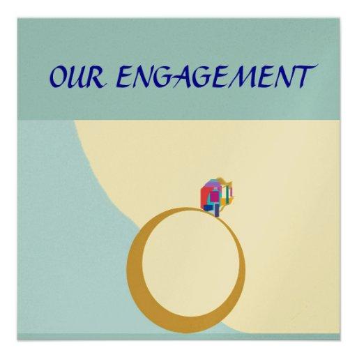 Nuestra tarjeta de encargo de Engagement>Zazzle Invitaciones Personalizada