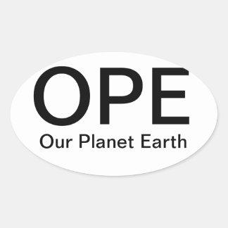 Nuestra tierra del planeta pegatina ovalada