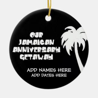 Nuestro aniversario jamaicano adorno redondo de cerámica