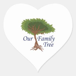 nuestro árbol de familia pegatina en forma de corazón