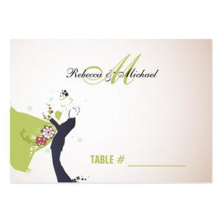 Nuestro día de boda - tarjetas verdes del lugar de tarjetas de visita grandes