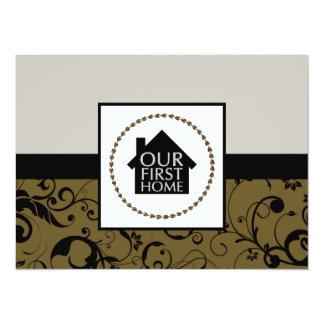 nuestro primer casero (damasco) invitación 13,9 x 19,0 cm