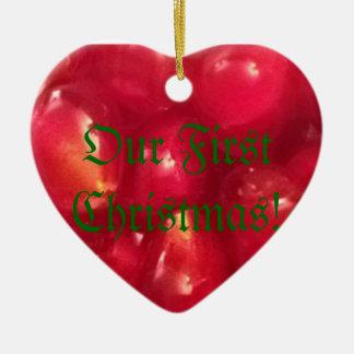 ¡Nuestro primer navidad! Adorno De Cerámica En Forma De Corazón