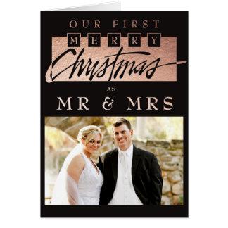 Nuestro primer navidad casado tarjeta pequeña