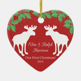 Nuestro primer navidad - corazón decorativo de adorno de cerámica