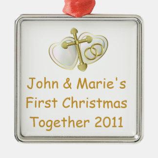 Nuestro primer navidad junto religioso adorno navideño cuadrado de metal
