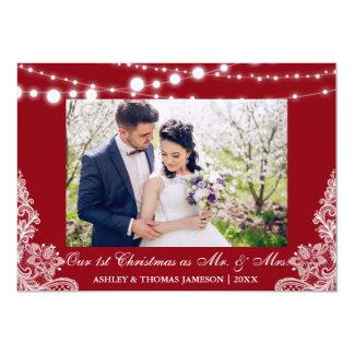 Nuestro primer navidad Sr. y señora tarjeta R de