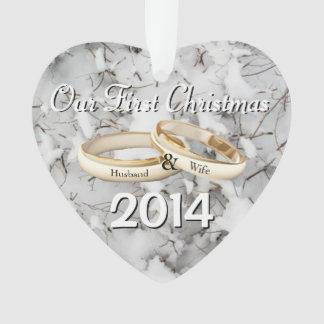 Nuestro primer ornamento del navidad del corazón