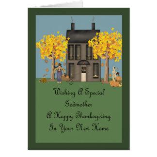 Nueva acción de gracias feliz casera de la madrina tarjeta de felicitación