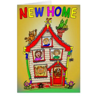 Nueva casa casera del dibujo animado tarjeta de felicitación