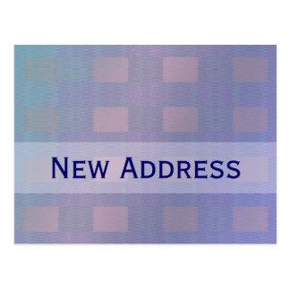 nueva dirección azul en colores pastel postal