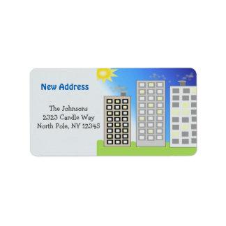 Nueva dirección de los edificios altos etiquetas de dirección
