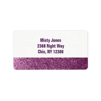Nueva dirección del falso purpurina púrpura etiqueta de dirección