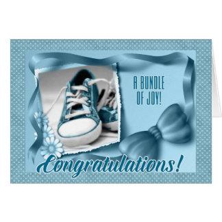 Nueva enhorabuena de los padres - nacimiento azul tarjeta de felicitación