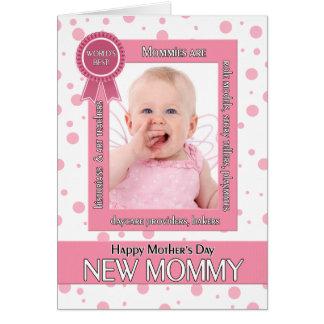 Nueva foto del día de madre del lunar del rosa de tarjeta de felicitación