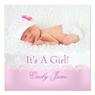 Nueva foto rosada de la invitación de la niña