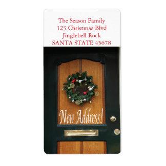 Nueva guirnalda del navidad de la dirección en etiquetas de envío