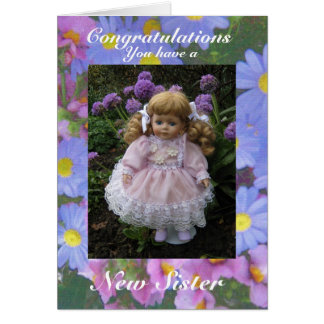 Nueva hermana tarjeta de felicitación