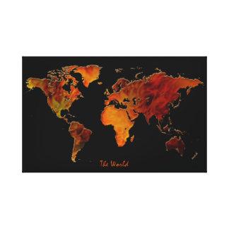 nueva impresión del arte del mapa del mundo del Vi Impresión De Lienzo